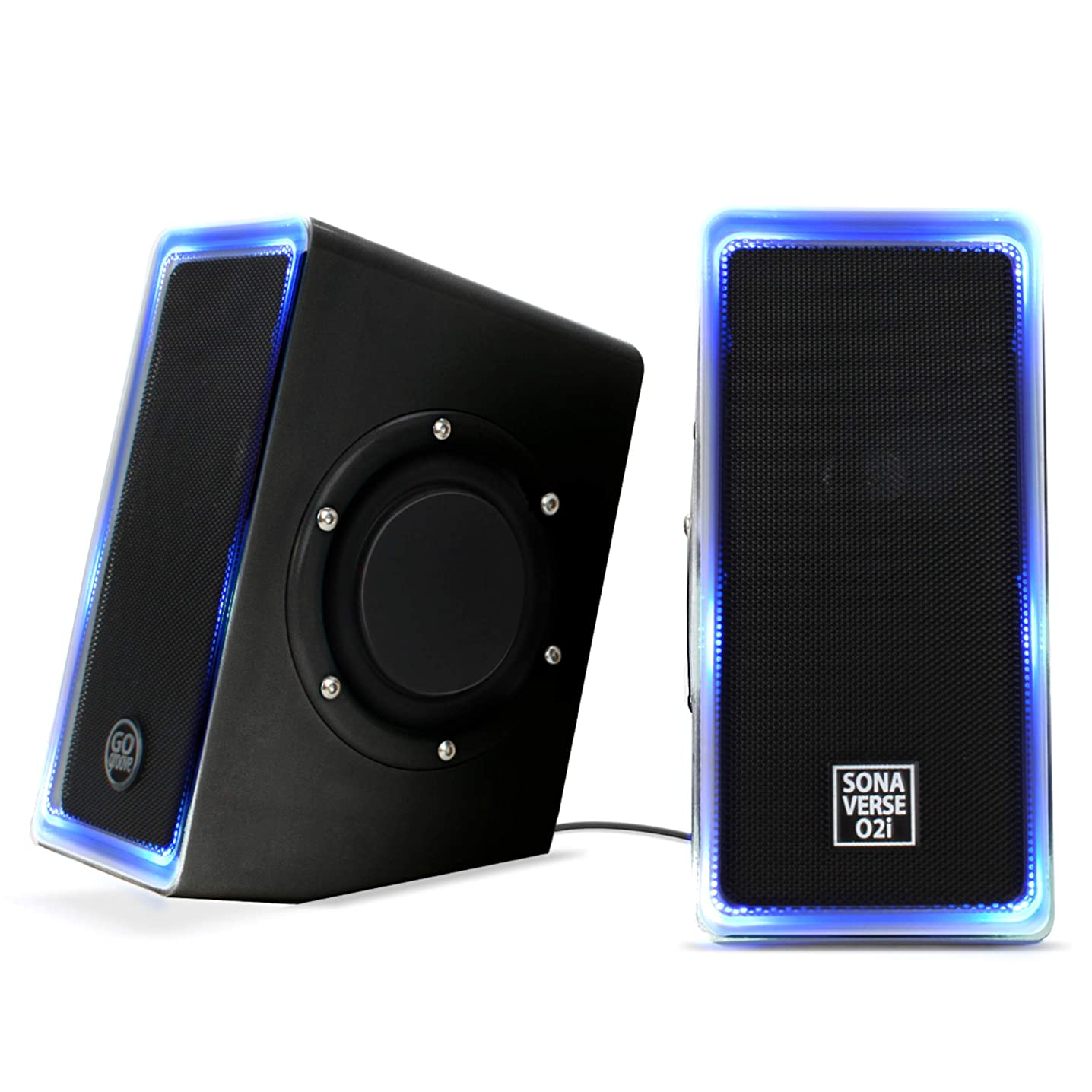 GOgroove Desktop Speakers for Laptop Computer (Black with LEDs) SonaVERSE O2i Gaming Computer Speakers USB Powered with AUX Input, Blue LED Lights, Dual 2.5