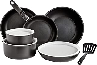 AmazonBasics 11 Piece Cookware Set with Lids, Removable Handle, and Spatula