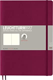Leuchtturm1917 Softcover B5 Plain Notebook- 121 Numbered Pages, Port Red