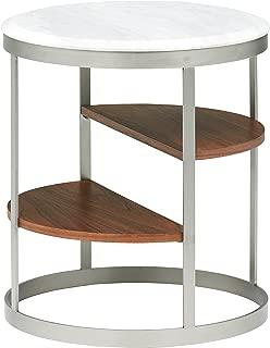 Marca Amazon - Rivet - Mesita redonda con tres estantes (mármol blanco y acero inoxidable)