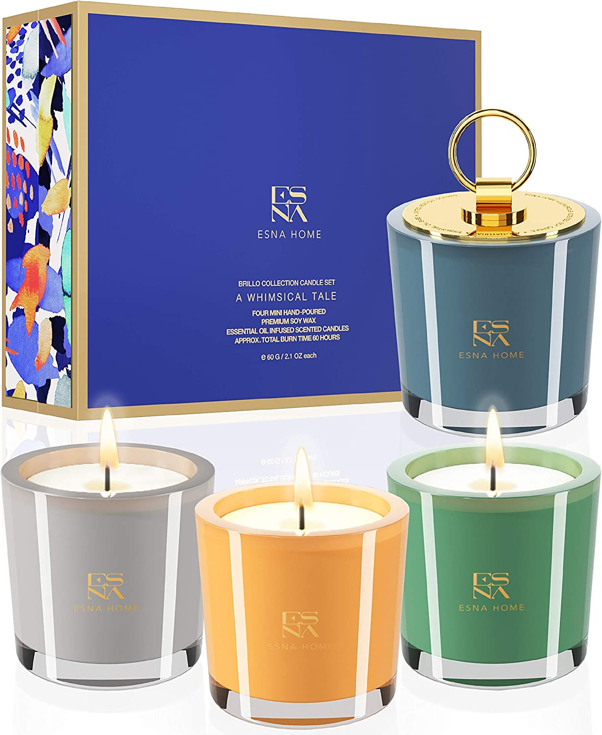 ESNA HOME Luxury Scented Candle Set | Aromatherapy Gifts for Her | 4 All Natural Soy Candles | Luxury Gift Box | Candles for Home Scented | Self Care Gifts for Women | Self Care Candle set