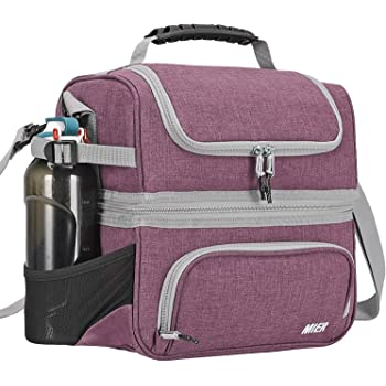 MIER Dual Compartment Lunch Bag Tote with Shoulder Strap for Men and Women Insulated Leakproof Cooler Bag, Purple