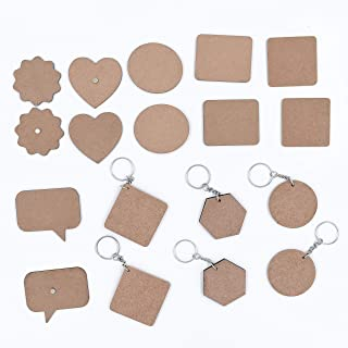 IVEI MDF Plains/Resin Pour Blanks DIY Mixed Bag - 12 Magnets and 6 Keyrings for Craft and Activities/Decoupage