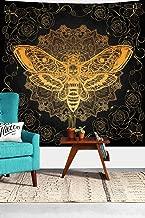Simsant Wall Tapestry Dead Head Hawk Moth with Boho Vintage Dark Skull Illustration Romance Philosophy Spirituality Home Decor Wall Hanging BedHead 60X60 inches SILS414