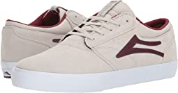 White/Burgundy Suede