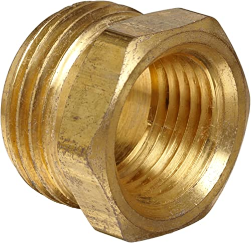 """Anderson Metals 57480-1208 Brass Garden Hose Fitting, Connector, 3/4"""" Male Hose ID x 1/2"""" Female Pipe"""