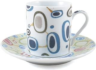 Retro Art Deco Porcelain Espresso Cup & Saucer 12 Piece Set
