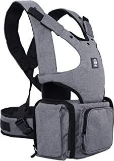 Large Pocket 360 Ergonomic Baby Carrier with Hip Seat for Infant& Toddler and Multi-Function Baby Diaper Bag Backpack, Perfect Baby Shower Gift, Carbon Grey