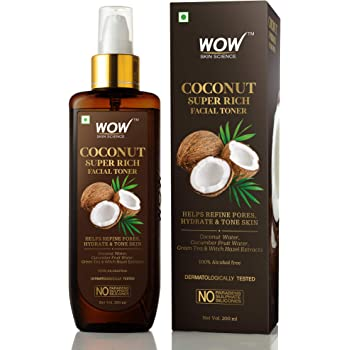 WOW Skin Science Coconut Super Rich Facial Toner for Hydrating & Toning Skin - For All Skin Types - No Parabens, Sulphate & Silicones, 200 ml