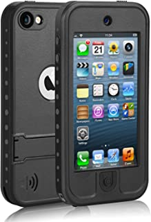 meritcase Waterproof Case with Kickstand and Built-in Screen Protector for Apple iPod Touch 5/6/7 for Swimming Snorkeling Surfing- Black