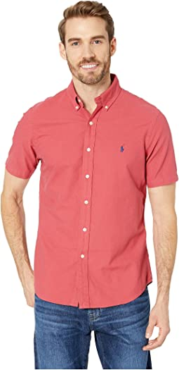 Short Sleeve Solid Garment Dyed Oxford Classic Fit Sport Shirt