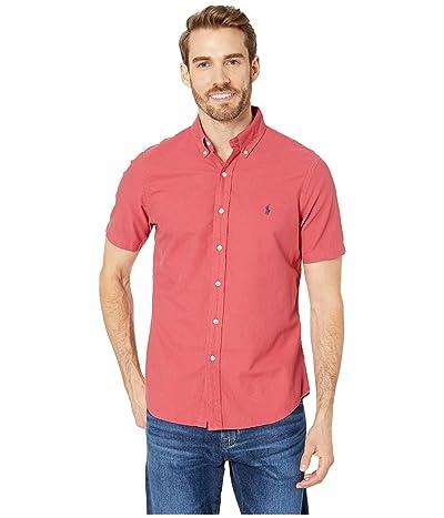 Polo Ralph Lauren Short Sleeve Solid Garment Dyed Oxford Classic Fit Sport Shirt (Chili Pepper) Men
