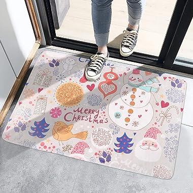 Toddmomy Christmas Doormat Bath Mat Entrance Xmas Tree Floor Mats Water Absorption Indoor Outdoor Front Door Rug Decorative A
