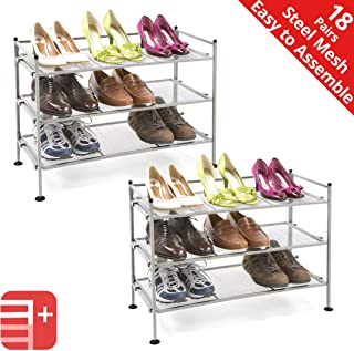 Seville Classics 3-Tier Stackable 9-Pair Steel Mesh Shelf Sturdy Metal Frame Shoe Storage Rack Organizer, Perfect for Bedroom, Closet, Entryway, Dorm Room, Satin Pewter, (2-Pack)