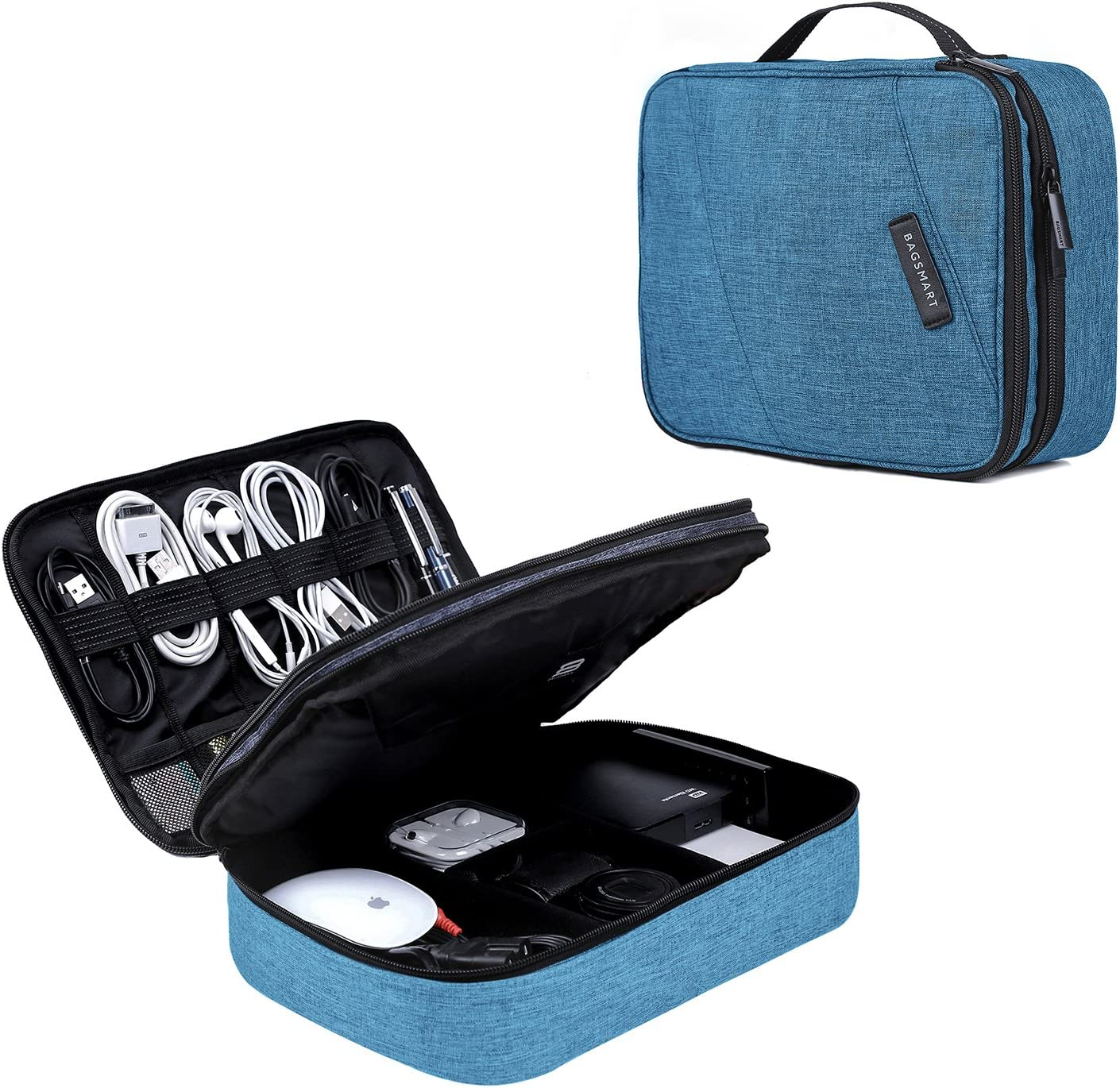 Electronic Organizer BAGSMART Travel Cable Organizer Bag for Hard Drives, Cables, Charger, Phone, USB, SD Card (Teal-Large)
