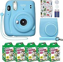 Fujifilm Instax Mini 11 Instant Camera Sky Blue + Custom Case + Fuji Instax Film Value Pack (50 Sheets) Flamingo Designer ...