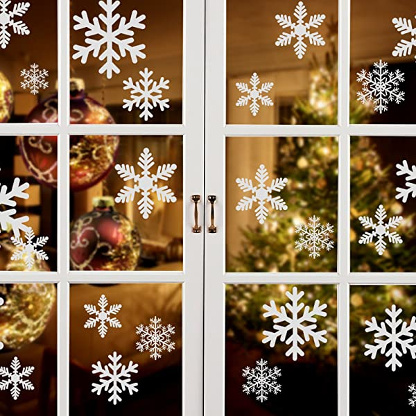 Naler Christmas Decoration Snowflake Window Clings Glueless PVC Wall Stickers For Windows Glasses Pack Of 96