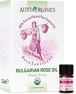 100% Pure USDA Organic Essential Bulgarian Rose Oil (Real Rose Otto) - 2.3ml/0.07fl.oz, from Alteya's Rose Distillery, Finest Quality