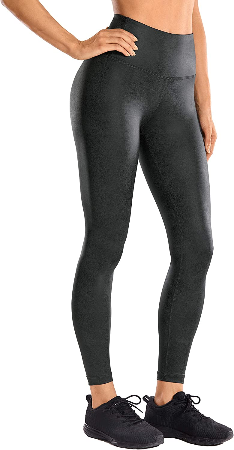 CRZ YOGA Women's Faux Leather Workout Leggings 25'' / 28'' - Stretchy Yoga Pants Lightweight High Waisted Tights
