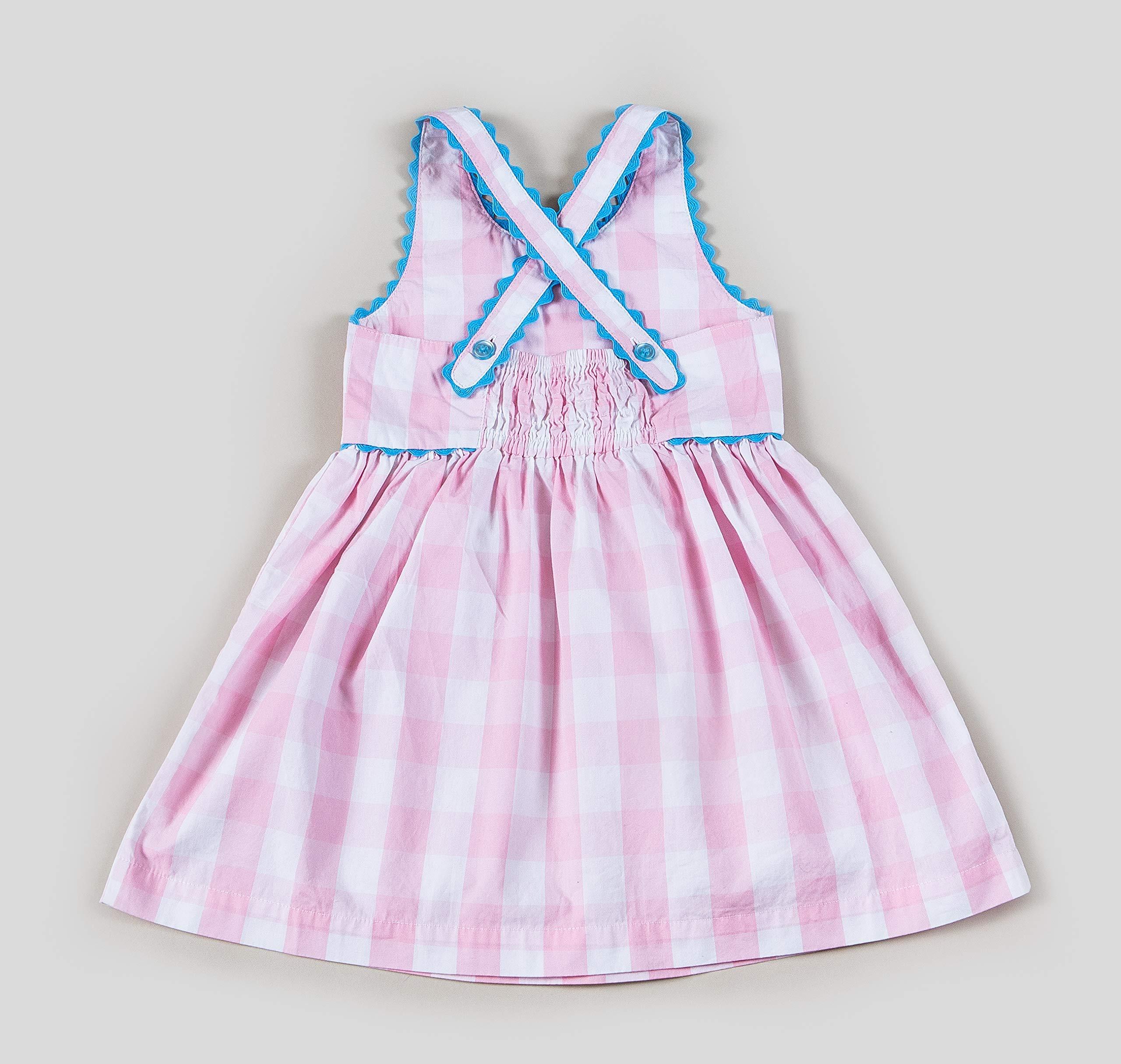 Kinderkind Girls Pink Gingham Off The Shoulder Dress