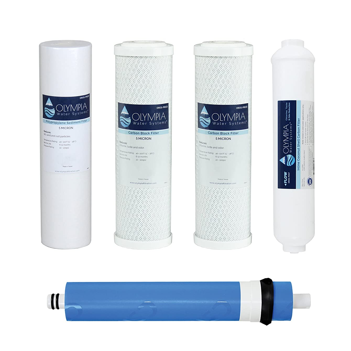 Olympia Water Systems 80GPD 5-Stage Complete Replacement Filter Set for Reverse Osmosis System