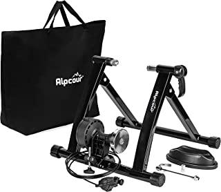 Alpcour Bike Trainer Stand – Portable Stainless Steel Indoor Trainer w/Magnetic Flywheel, Noise Reduction, 6 Resistance Settings, Quick-Release & Bag – Stationary Exercise for Road & Mountain Bikes