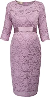 Maternity Womens Half Sleeve Hips-Wrapped Lace Party Evening Dress