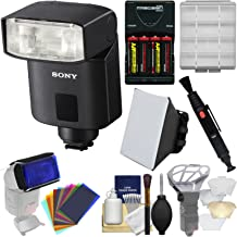 Sony Alpha HVL-F32M Compact Flash with Soft Box + Diffuser Bouncer + Color Gels + Batteries & Charger + Kit