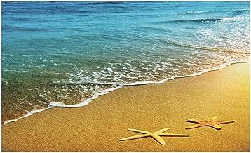 Ambesonne Landscape Doormat, Tropical Island Beach Caribbean Atlantic Ocean Scenery Artwork Print, Decorative Polyester Floor Mat with Non-Skid Backing, 30
