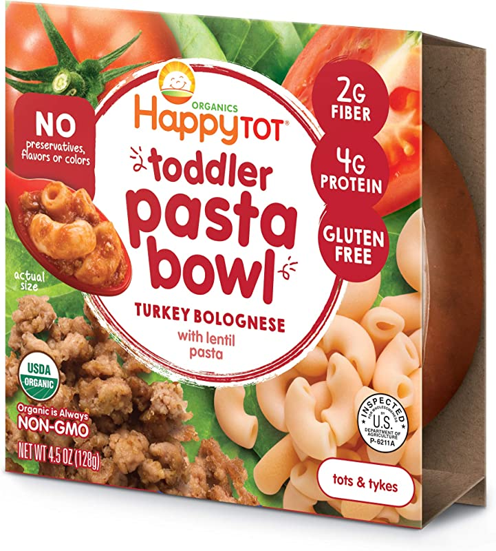 Happy Tot Toddler Pasta Bowl Turkey Bolognese With Lentil Pasta 4 5 Ounce 8 Count