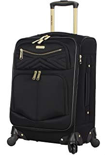 """Steve Madden Luggage Carry On 20"""" Expandable Softside Suitcase With Spinner Wheels (Rockstar Black, 20in)"""
