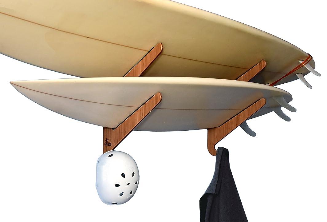 フィッティング鈍いピラミッド竹製サーフボード収納ラック 2ボード用 - グラスラック カウアイデュオ