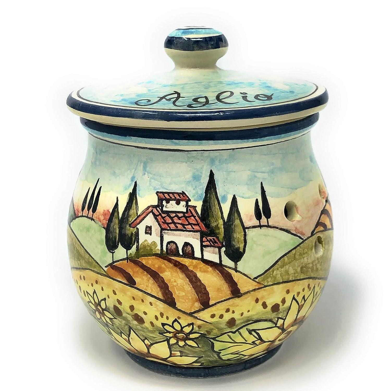 CERAMICHE D'ARTE Super sale PARRINI- Italian Ceramic Brings Hold Max 75% OFF Garlic Jar