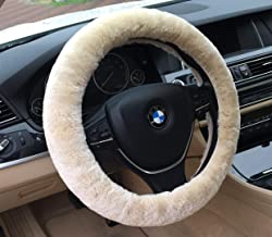 ANDALUS Car Steering Wheel Cover, Fluffy Pure Australia Sheepskin Wool, Universal 15 inch (Pearl)