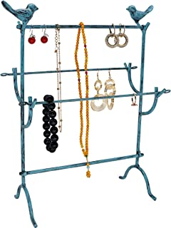 Vintage Bird Style Metal Jewelry Organizer Earring Necklace Bracelet Holder Tree Tower 4 Tier Display Stand, Turquoise