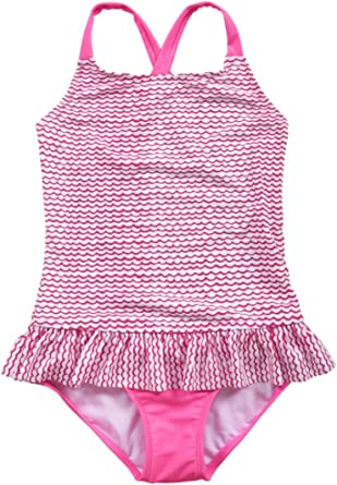 Hilor Girl's Ruffle One Piece Swimsuits Kids Bikini Swimwear Crossback Bathing Suits