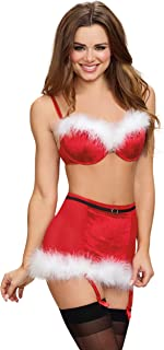 Velvet Santa Themed Bra and Garter Skirt Set with Marabou Trim