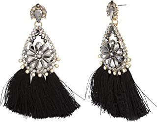 Steve Madden Black Tassel Crystal Flower Teardrop Dangle Earrings for Women