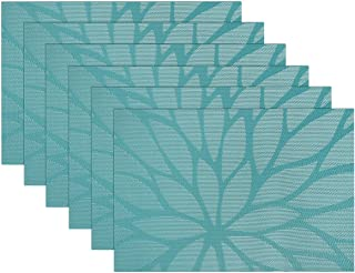 SICOHOME Placemats,Set of 6,Blue Vinyl Placemats for Dining Table