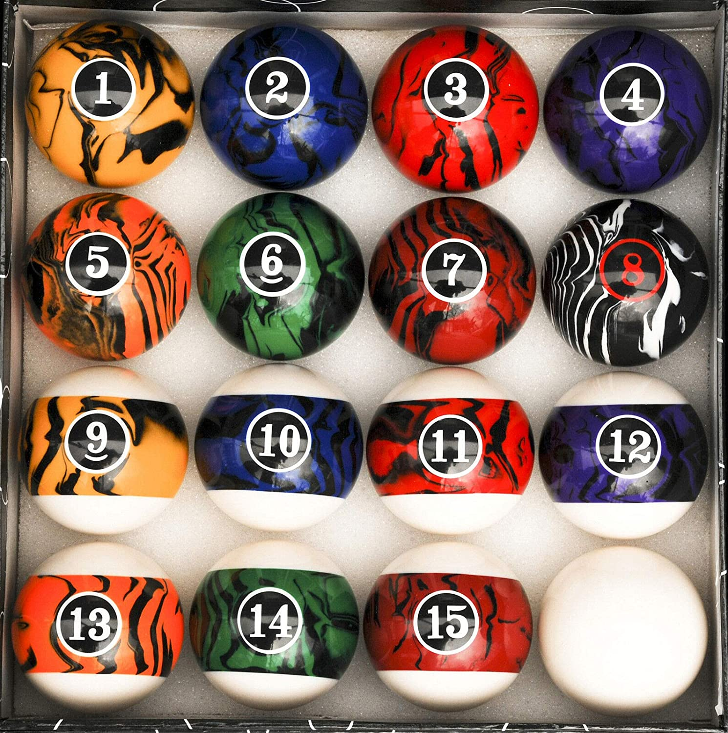 Uncommon Dark Color Marble Year-end annual account Swirl Super beauty product restock quality top Pool Ball Set Table Re Billiard