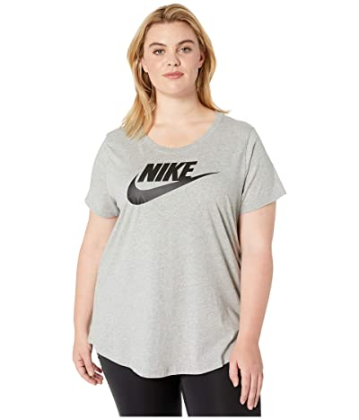 Nike Plus Size NSW Tee Essential Futura (Dark Grey Heather/Black) Women