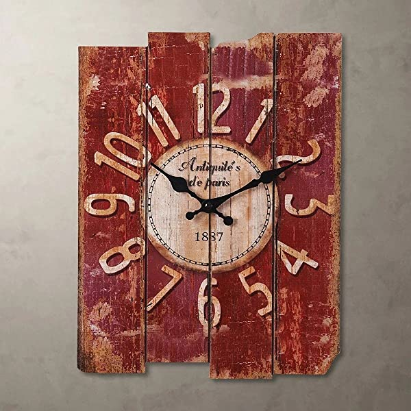 SMC H15 Country Style Vintage Wall Clock Home Decor Wood Wall Clock MDF