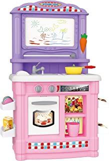 Toy Chef Kids Kitchen Toy Playset Kitchen Stove and Sink with Magnetic Drawing Board, Cutting Velcro Fruits and Vegetables Play Food, Cookware Set, Pretend Role Play Toys for Girls