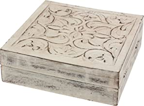 Stonebriar Worn White Wooden Keepsake Trinket Box with Hinged Lid and Carved Floral Design, Decorative Small Jewelry Box, ...