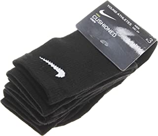 Kid's 3 Pairs Young Athletes Cushioned Crew Socks; Black (5-7)