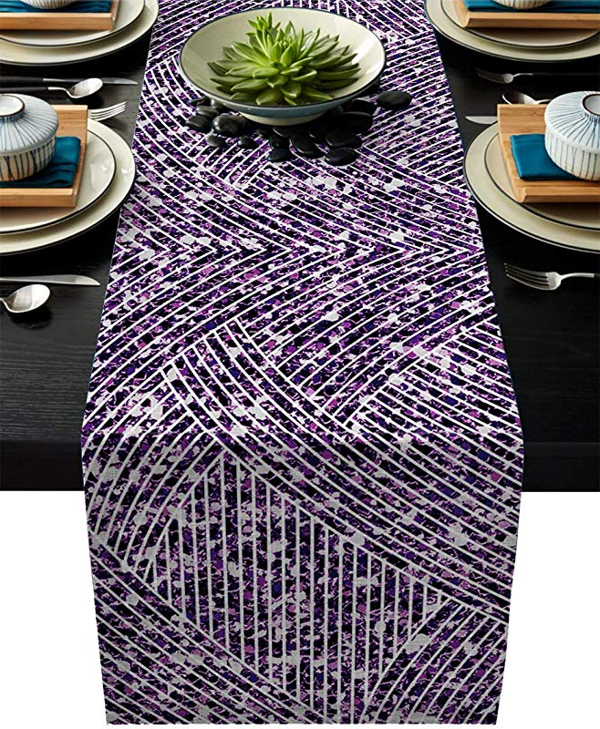IDOWMAT Linen Burlap Table Runner Dresser Scarves 14 X 72 Inch Marble Striped Texture Purple Kitchen Table Runners For Farmhouse Dinner Holiday Parties Wedding Events Decor