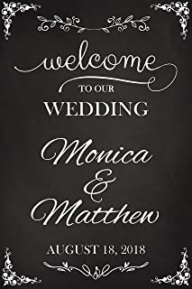 Welcome to Our Wedding, Custom Wedding Sign, Wedding Welcome Sign, Chalkboard Sign, Wedding Party Signs, Handmade Party Supply Poster Print, Custom banner and sign, Size 36x24, 18x24