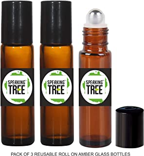 Speaking Tree - 10ml Premium Empty Refillable Reusable Roll on Glass Bottles for Essential oils, DIY Perfumes, Cosmetics, Blends (Set of 3)