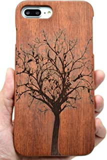 iPhone 7 Plus Wooden Case, iPhone 8 Plus Wooden Case, PhantomSky Premium Quality Handmade Natural Wood Cover for Your Smartphone - Rosewood Tree