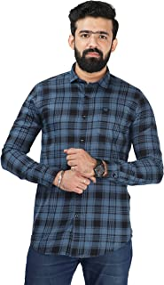 Color Play Men's Pure Cotton Slim Fit Coudroy Checks Casual Full Sleeves Shirt